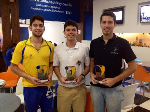 Bernardo Abreu (2.º), Thiago Felicetti (Campeão), Bruno Costa (3.º)